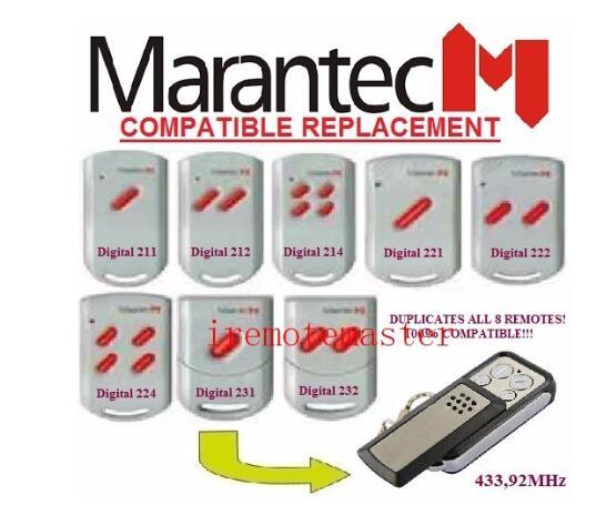 FOR MARANTEC Digital 211/212/214/221/222/224/231/232 Remote Control Garage Door Replacement Remote Control Duplicator