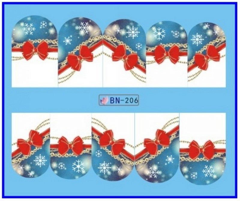 1sheet Water Transfer Nail Art Sticker Winter Christmas Snow RED BlUE Background Manicure DIY Decal New Design Nails Tips Wraps in Stickers Decals from Beauty Health