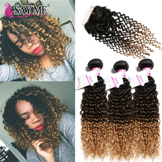 Kinky Curly Bundles With Closure Ombre Blonde 1b 4 27 Curly Human