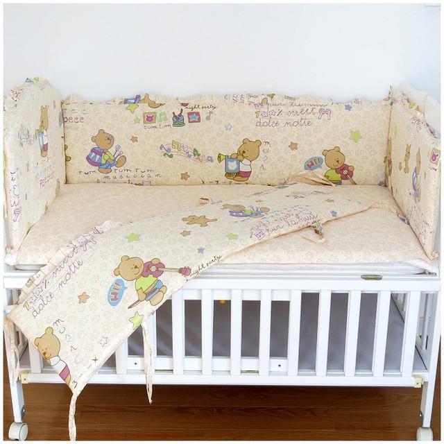 Promoción! 6 unids oso Baby Girl Crib Bedding set, accesorios del bebé ( bumpers + hojas + almohada cubre )