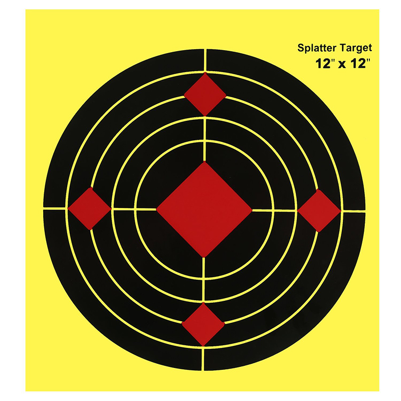 "Shooting Target 12"" Reactive Paper Splatter Targets Fluorescent Yellow Upon Impact Gun Rifle Pistol Air Soft Bb Gun Pellet"