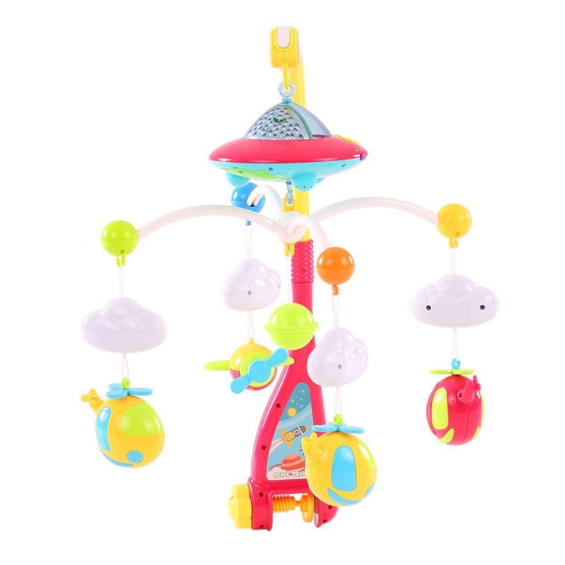 Bébé lit cloche musicale Mobile jouets 0-12 mois berceau Mobile Musical lit cloche Animal hochets Projection dessin animé nouveau-né enfants cadeau