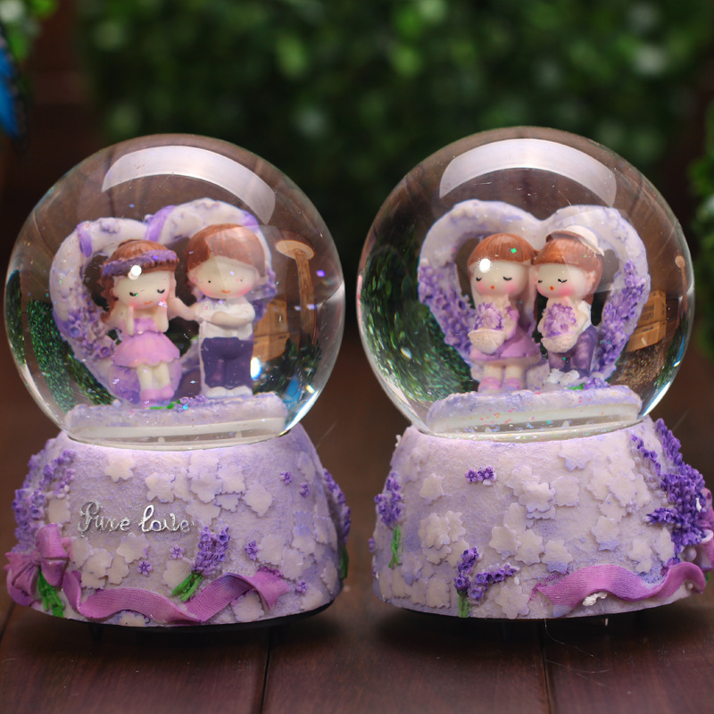 Music Box Rotating Couples Lovers Birthday Gifts Resin
