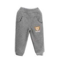 2016 winter warm cotton child velvet pants for boys and bear embroidered thicken coral fleece pants Age 3T-6T
