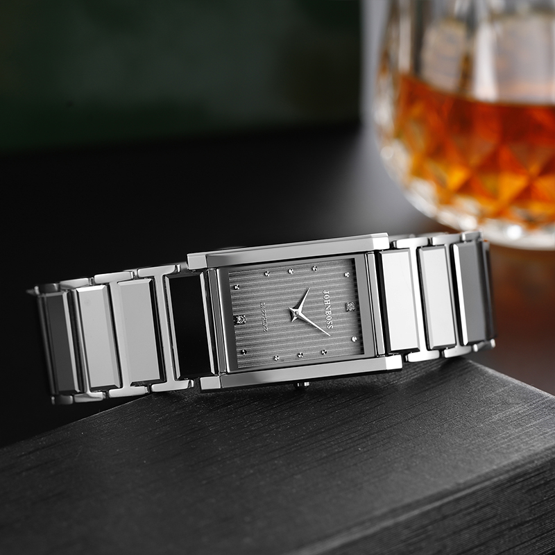Industrial Design Tungsten Steel Square Business Watch Man Swiss Movement Water Resistance Rectangle Fashion Watch