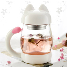 Cute Cat Cups 420ml Personality Glass Mug with Infuser Office Coffee Tumbler