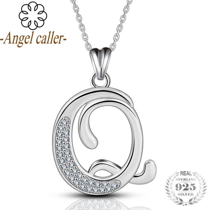925 Sterling Silver Letters Name Q Pendant & Necklace With AAA Zircon Pendants Fine Jewelry For Women birthd Gift