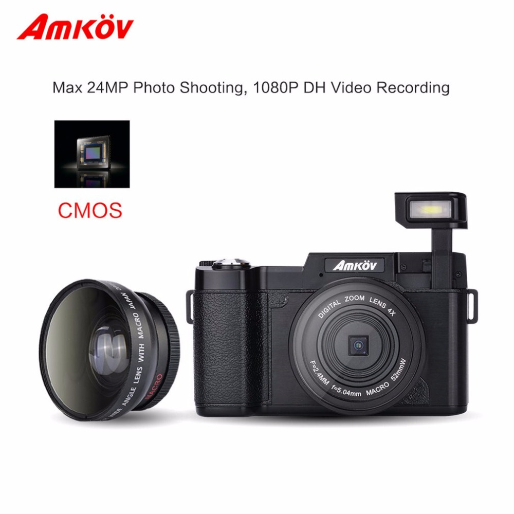 Amkov 24MP HD 1080P 3.0 TFT LCD 180 degree Rotatable Screen Digital SLR DV Recorder Camera with Facial Beauty Function