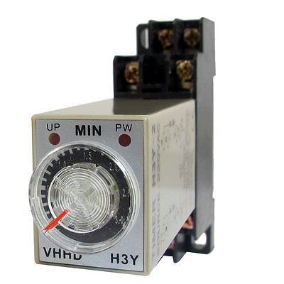 DC24V/DC12V/AC110V/AC220V  0-3 Minute 3 Meters Timer Power On Delay Time Relay 8 Pin H3Y-2 w Socket v 3 12