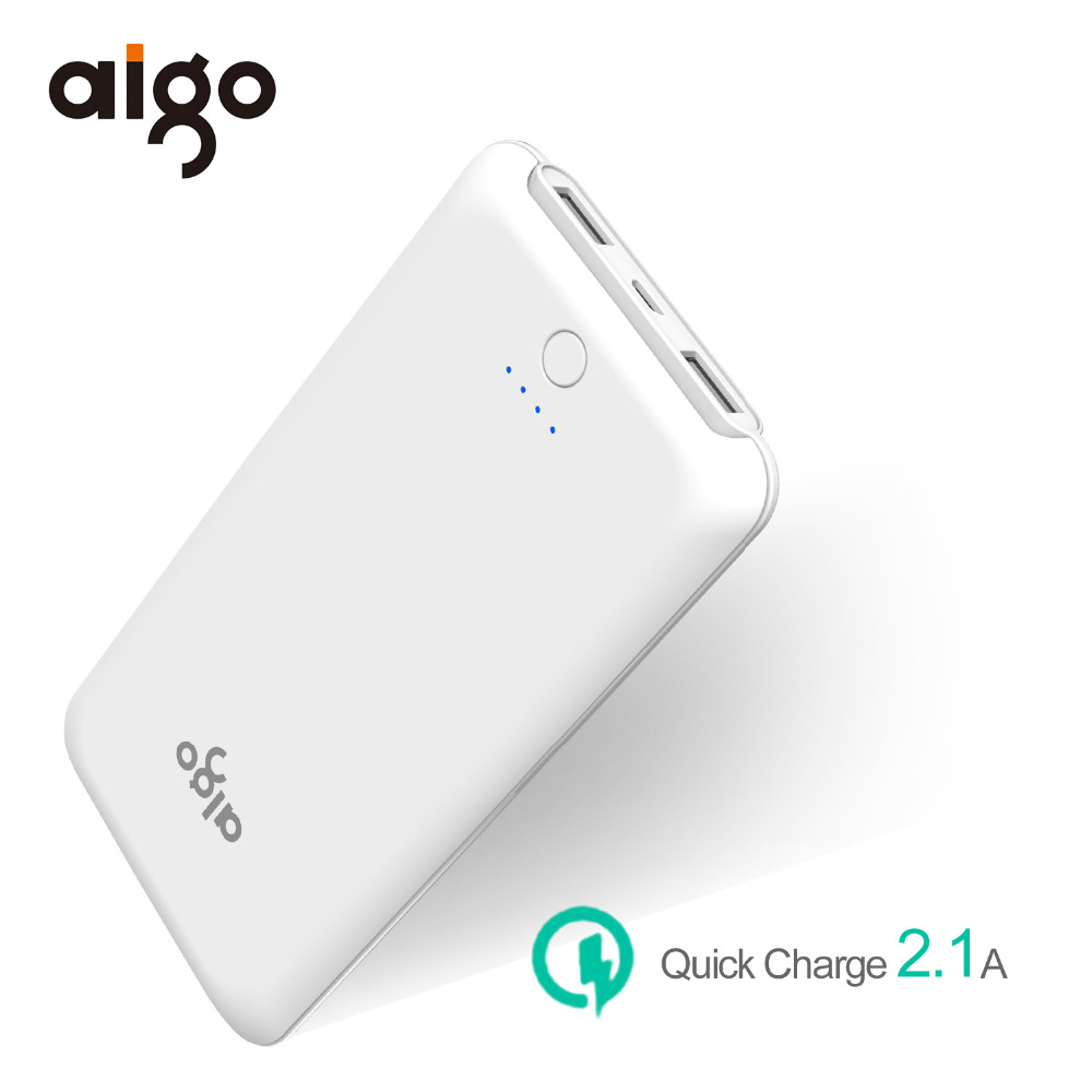 Aigo Power Bank 10000mAh Ultra Slim Dual USB Fast Charger Portable External Battery Powerbank Power Supply for Iphone 6 6s 7 8