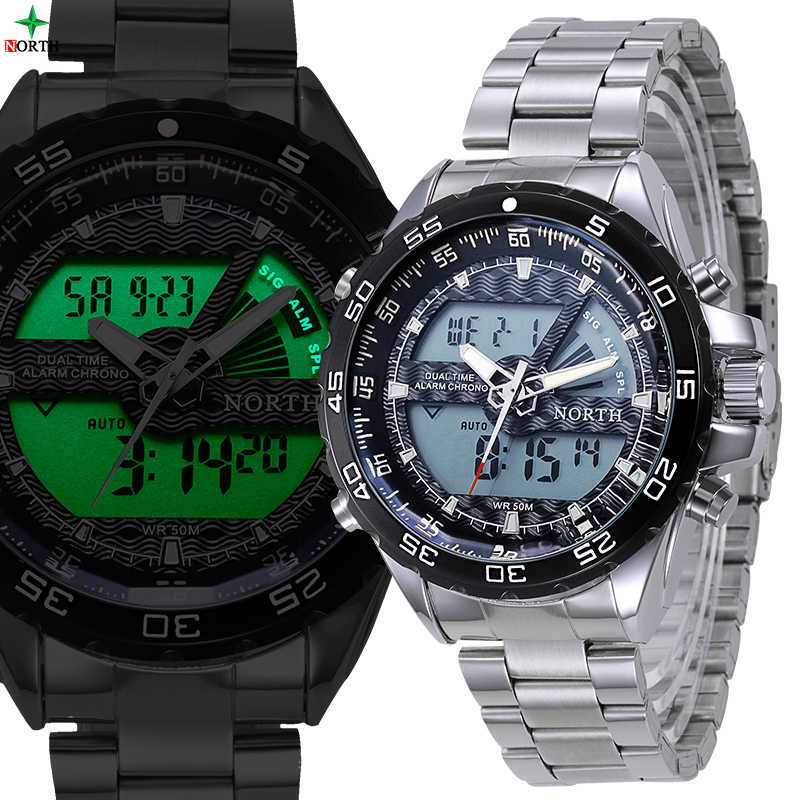 NORTH Men's Military Watch Sport Luxury Brand Quartz Wristwatch Male Clock Stainless Steel Waterproof LED Digital Sport Watches