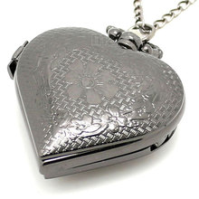 Black Pierced Heart Shape Pocket Watch Necklace Pendant Women Gift
