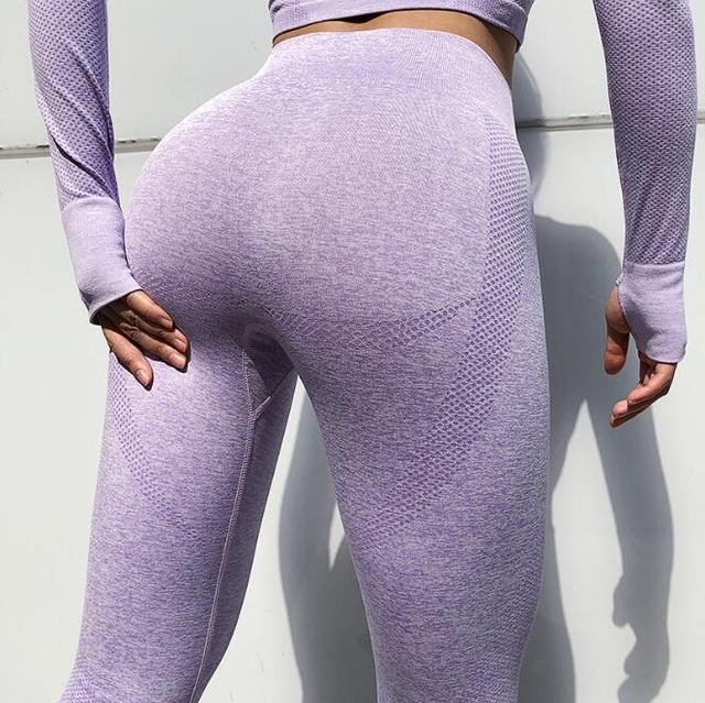 2Pcs Sports Suits Seamless Yoga Set Women Fitness T-shirt Sportswear Leggings Sports Running