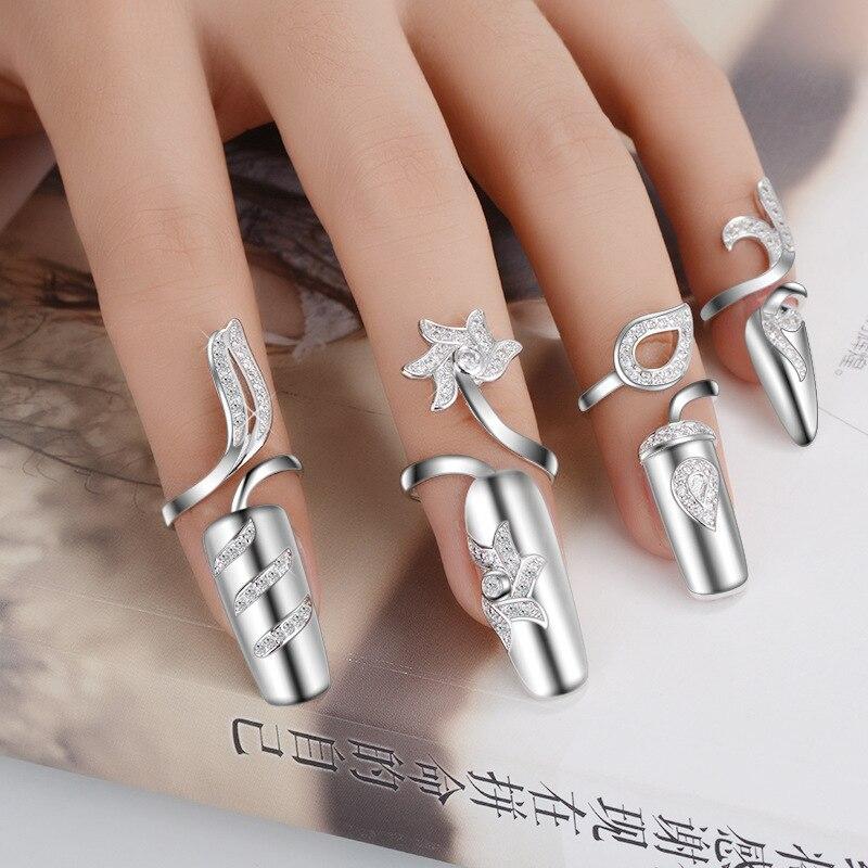 Hot Sell Fashion Originality Shiny Crystal Nail Ring Female 925 Sterling Silver Ladies Nail Rings Jewelry JZ018