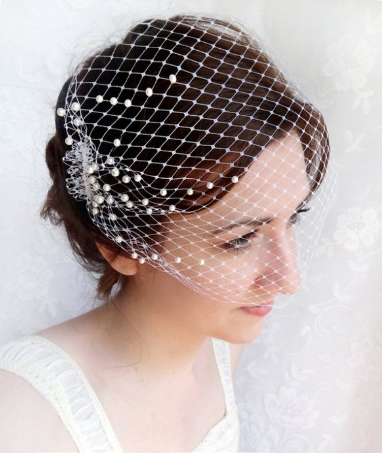 Birdcage Veil With Pearls, Wedding Bandeau Veil, Small Birdcage Veil - Blush Fascinator