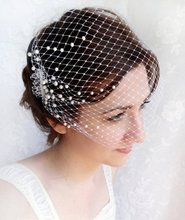 Birdcage veil with pearls, wedding bandeau veil, small birdcage - Blush fascinator
