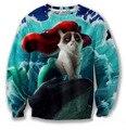 Roupas primavera camisola 3D dos desenhos animados rei gato água a pequena sereia Angry Red cabelo camisolas Jumper Crewneck mulheres / homens