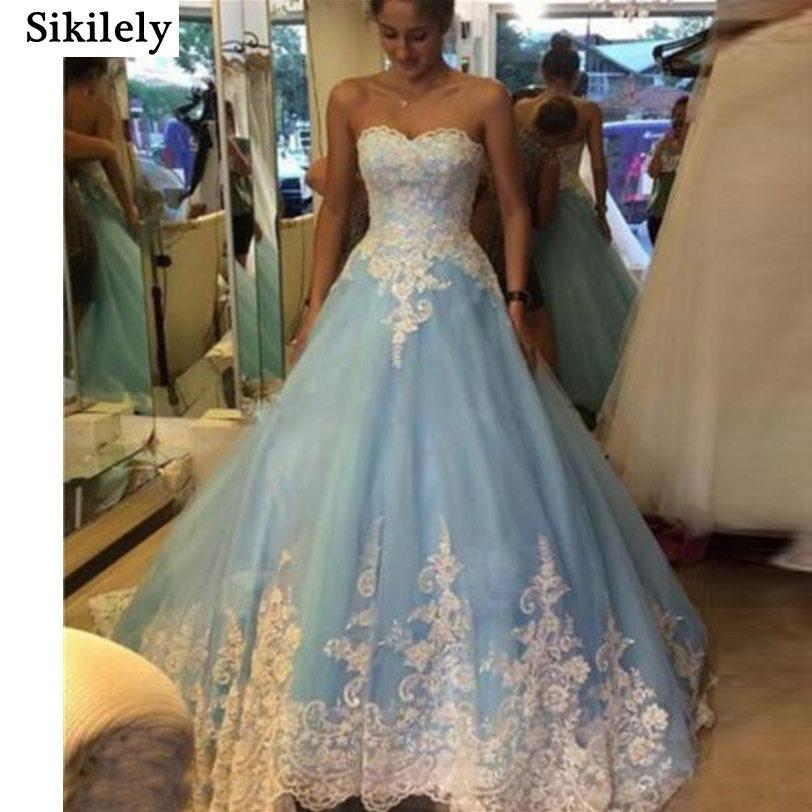 Sky Blue and White Wedding Dress Promotion-Shop for Promotional ...