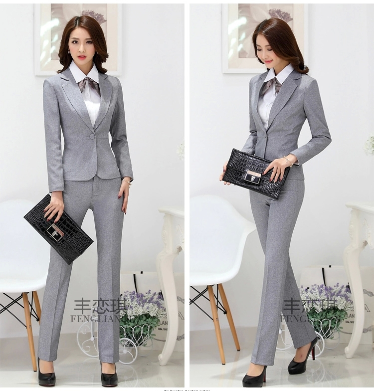 Spring and summer long sleeve work wear women's set pants ...