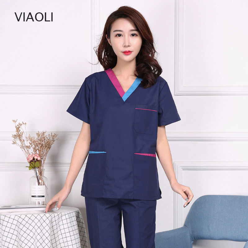 New High Quality Beauty Salon Sets Spa Uniform Women Medical Surgical Cotton Pharmacy Nurse Uniform White Coat Scrub Sets 2019