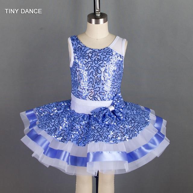 c454e84ff Children s Jazz Ballet Dance Costume Blue Sequin Lace Bodice Leotard ...