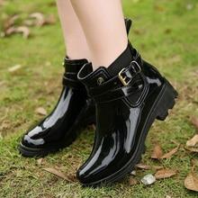 Fashion Rain Boots Woman 2018 Hot Chelsea Boots Women Rubber Boots Ankle Boots Female Autumn Ladies Shoes Black With Women Shoes