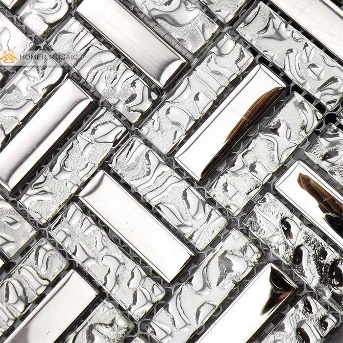 Misto di vetro con acciaio inossidabile colore grigio mosaico di vetro cucina backsplash - Mosaico vetro bagno ...