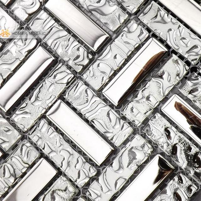 Vidrio mezclado con acero inoxidable, color gris, azulejos de ...