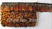 Wholesale! 10Yards/lot Height approx 6.0cm Natural Golden Brown Colour Ringneck pheasant plumage featehr fringe