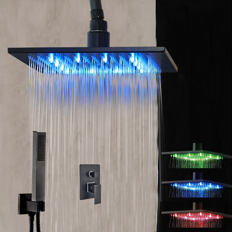 LED Ceiling Mounted Shower Head Faucet Oil Rubbed Bronze Hand Shower Sprayer