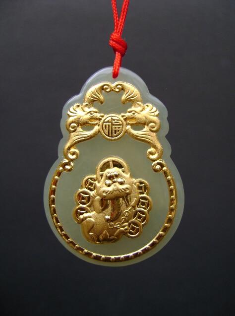 Certificate 24k Yellow Gold Grade A HETIAN  Dragon Son PendantCertificate 24k Yellow Gold Grade A HETIAN  Dragon Son Pendant
