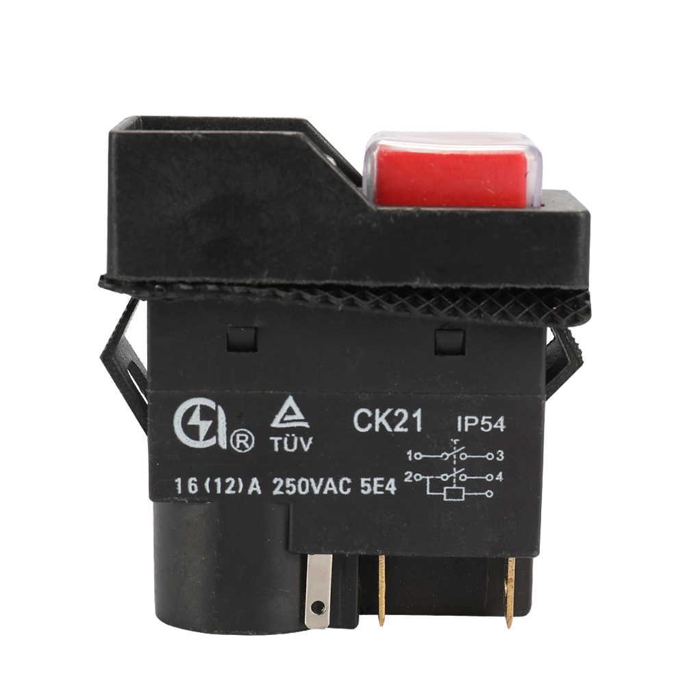 CK21 250 В 16A 4Pin 5 контактов водонепроницаемый электромагнитный безопасный кнопочный переключатель для резки металла шлифовальный станок затвор черный