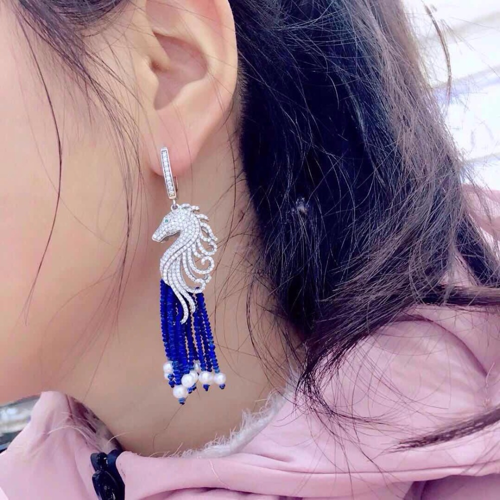 Qi Xuan_Jewelry_New Earrings Seahorse Earrings S925 Silver Inlay Zircon Elegant And Irregular Irregular_Factory Direct SalesQi Xuan_Jewelry_New Earrings Seahorse Earrings S925 Silver Inlay Zircon Elegant And Irregular Irregular_Factory Direct Sales
