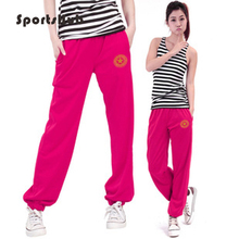 SPORTSHUB Женские однотонные спортивные штаны с эластичной резинкой на талии танцевальный клуб широкие брюки свободные длинные брюки SAA0010