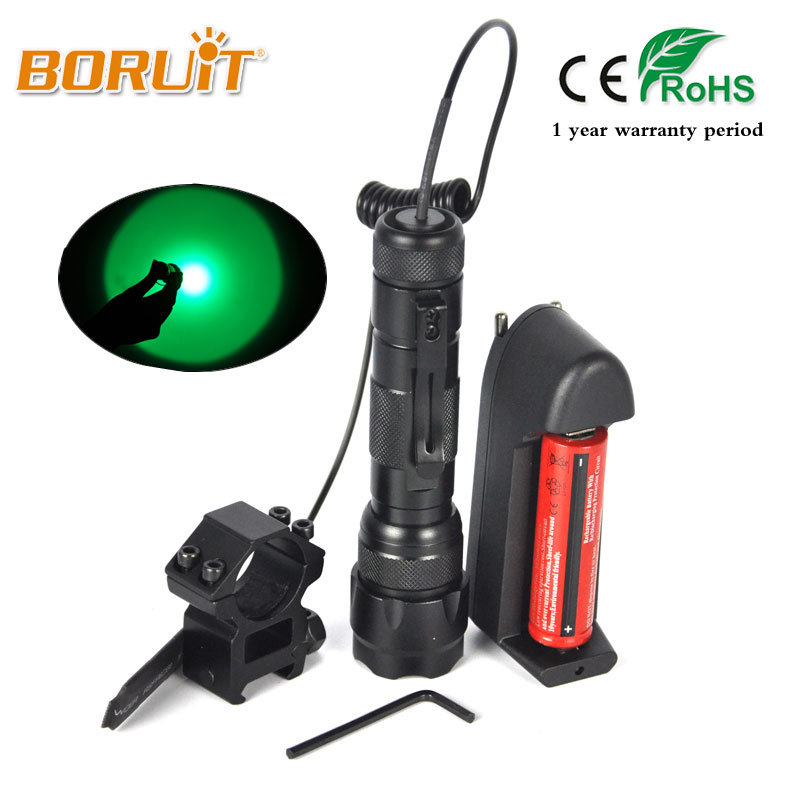 все цены на Boruit 1200LM XPE LED Flashlight Green Light Torch For Fishing Hunting 18650 Battery Flashlamp lanterna Lamp With Gun clip 502B онлайн