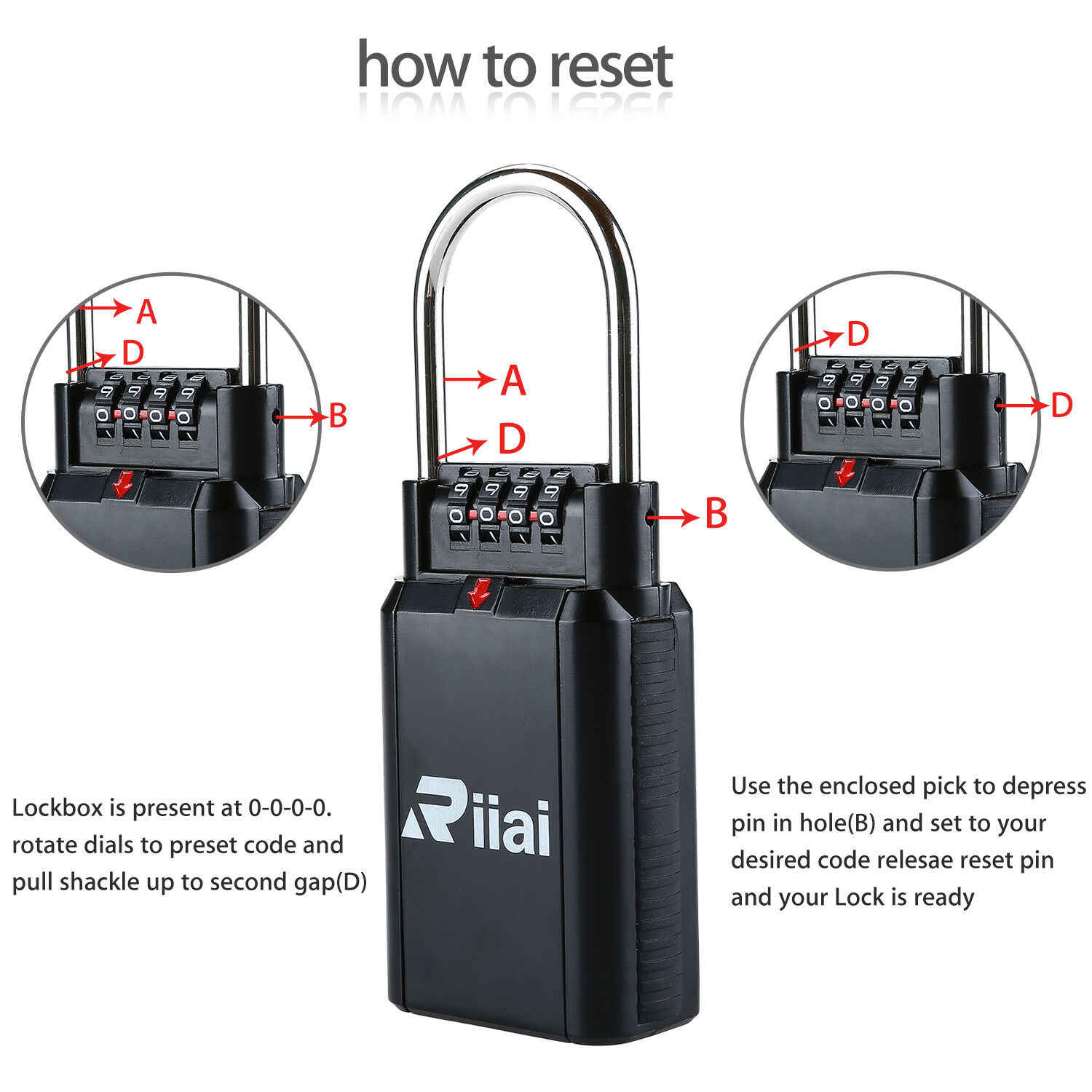Riiai 4 Digit Password Lock Key Safe Vault Combination Lock Box Car-door  Handle Capacity Metal Twist Lock Candados De Seguridad