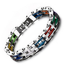 Fashion jewelry bicycle chain Rainbow Silicone Stainless Steel Bracelet Bangle Handmade 8 color for Women/Men Bracelets & Bangle