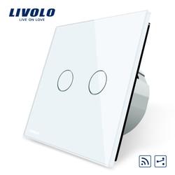 Livolo EU Standard, Touch Remote Switch, White Crystal Glass Panel, 2 Gangs 2 Way, AC 220~250V + LED Indicator, VL-C702SR-1/2/5