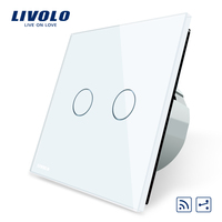 Livolo EU Standard Touch Remote Switch White Crystal Glass Panel 2 Gangs 2 Way AC 220