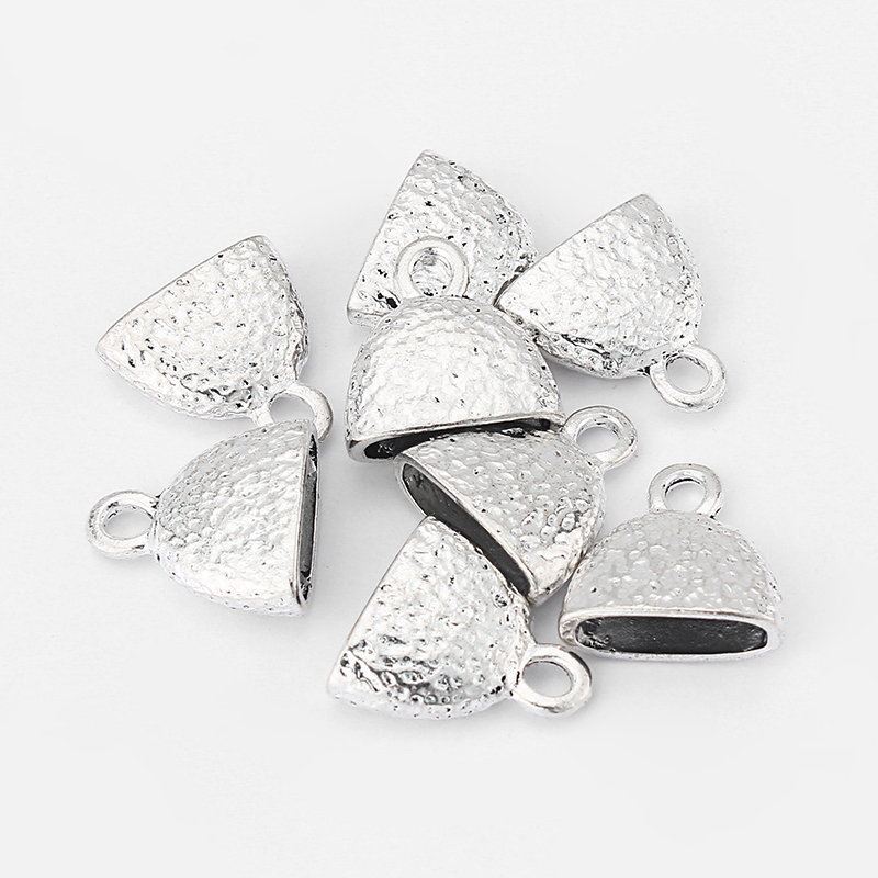 5pcs Antique Silver Flat End Beads Cap Fit Flat Leather Cord Bracelet Jewelry Making Parts DIY Fashion Jewelry Accessories