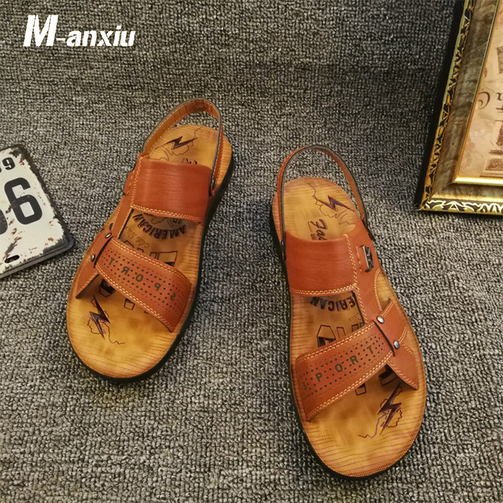 M-anxiu 2018 Summer Men Rubber Flat Sole Cross-strap Sandal New Fashion Out Door Peep-toe Beach Summer Sandal