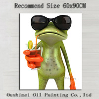 Superb Skills Artist Hand Painted High Quality 3D Effect Frog Oil Painting On Canvas Handmade Drinking