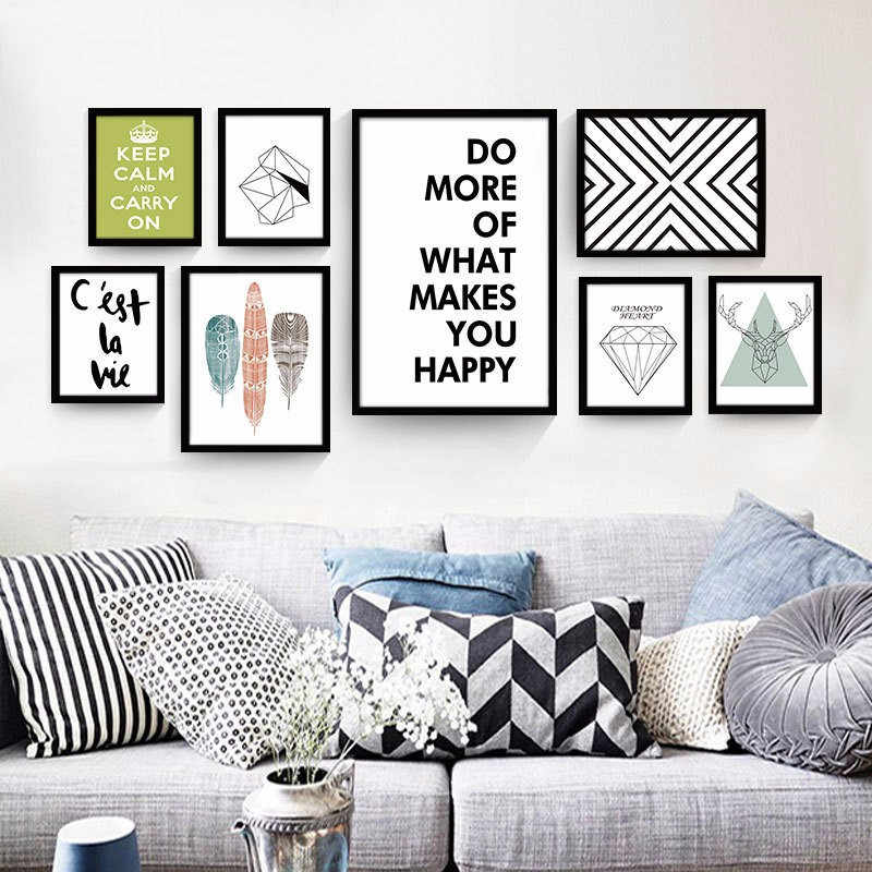 Dekoration Nordic Geometry Canvas Wood Scroll Picture Poster Home Room Wall Decor Pick Size Mobel Wohnen Elin Pens Ac Id
