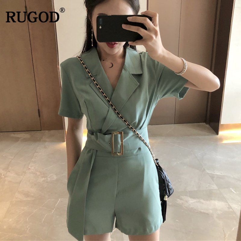 RUGOD 2019 Fashion Elegant Business Women Playsuit Office Lady Female Sets With Belt Green Chic Vneck Short Sleeve Lady Playsuit