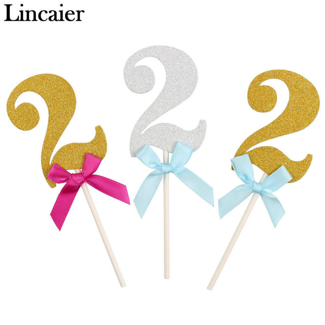 Lincaier 6 Pieces 2 Years Birthday Cake Cupcake Toppers I Am Two Boy Second Girl 2nd Anniversary Party Decorations Twins