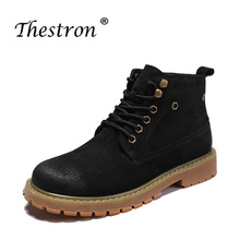 Work safety boots mens rubber soles spring and autumn winter cotton casual shoes brown black handmade