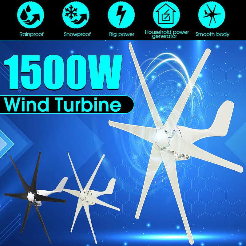 1500W 12V/24 V/48 Volt 6 Blade Wind Turbines Horizontal Home Wind Generator Power Windmill Energy Turbines Charge