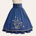 2017 fall classic lolita falda vintage rayado estilo a line falda con bordado jaula