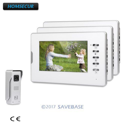 HOMSECUR 7inch Video Door Intercom System With Quality Night-Vision with Color Images + 1 Camera + 3 Monitors