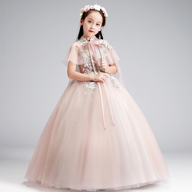 Flower Girl Dress for Kid Embroidery Wedding Communion Birthday Party Dresses